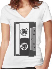 Big Cassette Women's Fitted V-Neck T-Shirt