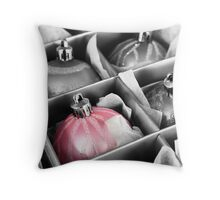 Christmas balls in the box Throw Pillow