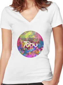 Tobu - Colorful logo Women's Fitted V-Neck T-Shirt