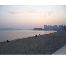 Sunset at Haeundae Beach - Busan, Korea Photographic Print