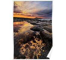 Rockpool near Dunstanburgh Castle in Northumberland Poster
