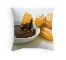 Churros in chocolate sauce Throw Pillow