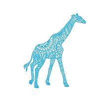 Printed Giraffe - Blue by eliannadraws