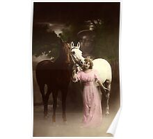 Vintage Beauty and Her Steeds Poster