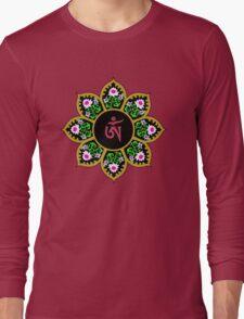 Tibetan Om Symbol in Lotus Mandala Long Sleeve T-Shirt