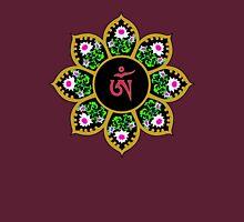 Tibetan Om Symbol in Lotus Mandala Unisex T-Shirt