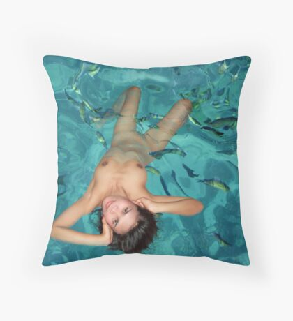Water Nymph Throw Pillow