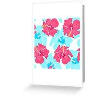 pattern with hibiscus  Greeting Card