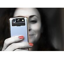 Woman with her Cell Phone  Photographic Print