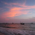 Cambodia beach sunset by davidleahy