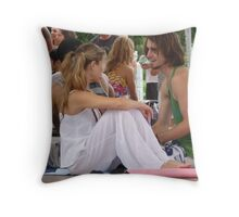Candid Yoga Chit Chat ... Throw Pillow