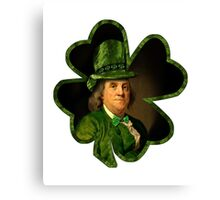 Lucky Ben Franklin Ready for St Patricks Day Canvas Print