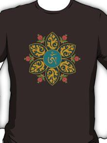 Tibetan Om Symbol in Flame Mandala T-Shirt