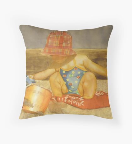 Girls at the beach : Maelle, watercolor on paper Throw Pillow