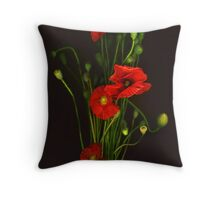 Red Shirley Poppies Throw Pillow