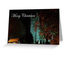 Merry Christmas - St. Andrews, Stratton, by night Greeting Card
