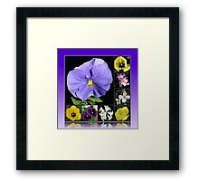 Spring Flowers Collage in Blue and Yellow Framed Print