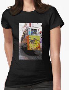 Graffiti Lisbon tram Womens Fitted T-Shirt