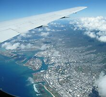 Flying into Honolulu, Hawaii  by DonnaMoore