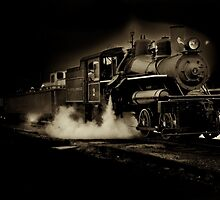 Sepia toned steam train by Jeffrey  Sinnock