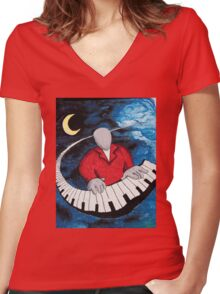 Piano Man Women's Fitted V-Neck T-Shirt