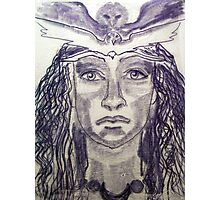 Woman Warrior -Touch Drawing on paper Photographic Print