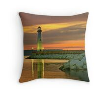 Wawatam Lighthouse in St. Ignace, Michigan Throw Pillow