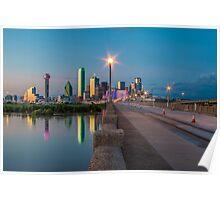 Dallas Skyline at Night on Bridge Poster