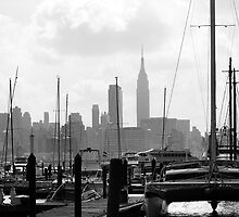 Masts on the Hudson by Ernest Strawser