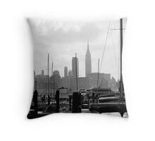 Masts on the Hudson Throw Pillow