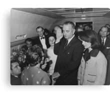 LBJ Taking The Oath On Air Force One Canvas Print