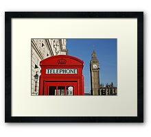 London, red white and blue, Big Ben, Telephone Box Framed Print