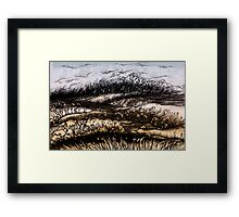 Winter.Hand draw  ink and pen, Watercolor, on textured paper Framed Print