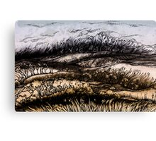 Winter.Hand draw  ink and pen, Watercolor, on textured paper Canvas Print