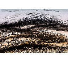Winter.Hand draw  ink and pen, Watercolor, on textured paper Photographic Print