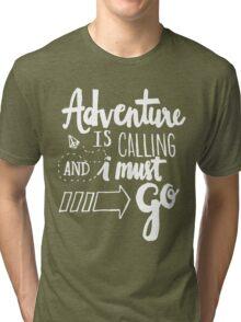 Adventure is Calling - White Tri-blend T-Shirt