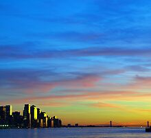 new york city downtown sunset cityscape skyline, from new jersey hudson river side, nyc, usa by upthebanner