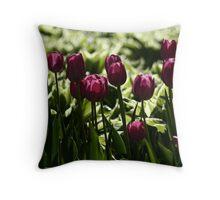 Purple Tulips Throw Pillow