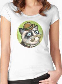 Dapper Grumpy Cat Women's Fitted Scoop T-Shirt