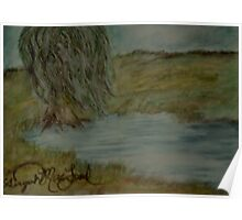 Willow Pond Oil Pastel Poster