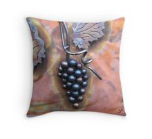 Grape Cluster on Copper Throw Pillow
