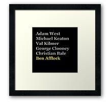 Affleck's Turn for Batman Framed Print