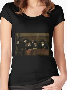 Painting - The Wardens of the Amsterdam Drapers' Guild, Known as 'The Syndics', Rembrandt Harmensz. van Rijn, 1662 Women's Fitted Scoop T-Shirt
