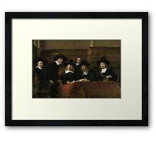 Painting - The Wardens of the Amsterdam Drapers' Guild, Known as 'The Syndics', Rembrandt Harmensz. van Rijn, 1662 Framed Print