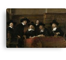 Painting - The Wardens of the Amsterdam Drapers' Guild, Known as 'The Syndics', Rembrandt Harmensz. van Rijn, 1662 Canvas Print