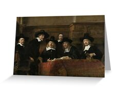 Painting - The Wardens of the Amsterdam Drapers' Guild, Known as 'The Syndics', Rembrandt Harmensz. van Rijn, 1662 Greeting Card