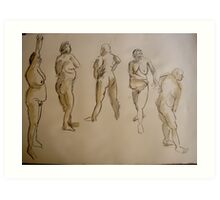 studies of a fat woman- 2 minute drawings Art Print