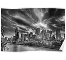 Melbourne City in Mono Vision Poster