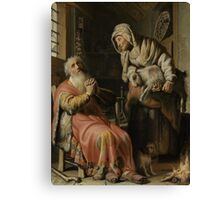 Painting - Tobit and Anna with the Kid, Rembrandt Harmensz. van Rijn, 1626 Canvas Print