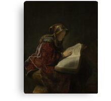 Painting - An Old Woman Reading, Probably the Prophetess Hannah, Rembrandt Harmensz. van Rijn, 1631  Canvas Print